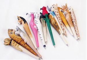 Ручная шариковая ручка прекрасная искусственная резьба по дереву животное шариковая ручка творческие искусства синие ручки подарок новый многоцветный