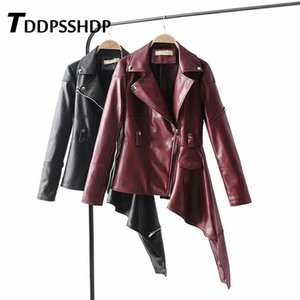 2019 Casual PU Leather Jacket Black and Burgundy Irregular Lapel High End Ladies Basic Coats Prendas de abrigo