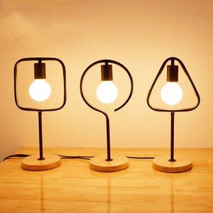 Геометрия Простой Mordern E27 Настольная лампа Вуд Стенд площади круговой треугольник светодиодный свет стола - Le15