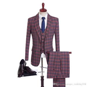 2019 Dark Red Mens Costumes Plaid Dinner Laine Groom Wear en revers cranté Groomsmen Slim Fit Men De Mariage Costume De Bal De Noce De Mariage