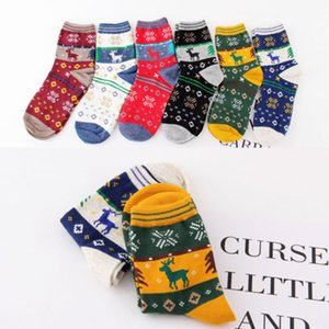 Women Girl Winter Christmas Socks Warm Sock Cute Snowflake Deer Comfortable Ankle Lenghth Socks Color Random