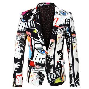 Hombre del diseñador de moda Traje Blazers Digital Impreso con un solo botón chaqueta para hombre primavera