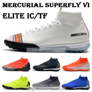 SACO DO PRESENTE Mens alta Tornozelo Botas de Futebol Superfly 6 Elite IC TF chuteiras Mercurial CR7 SuperflyX VI Neymar Turf Indoor futebol chuteiras