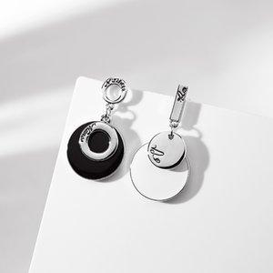 925 Silver Pin Stud Black and White Asymmetric Creative Earrings Female Personality Fashion Ear Clip Versatile European and American