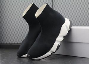 Duplo Box Botas meias pretas Mulher instrutor Branca velocidade Shoe Man Casual Botas de alta qualidade Stretch-Knit alta instrutor Top Shoes baratos