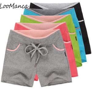 Casual Women Shorts Summer Korea Fashion 100% Cotton Drawstring Short Pants feminino Loose Female Fitness Shorts Plus Size 4XL T5190617