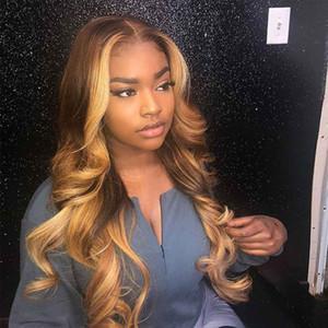 Las pelucas de pelo humano Encaje completo Coloreado de encaje frontal de la peluca ondulada 13x4 frontal de encaje pelucas de pelo humano Honey Blonde pelucas