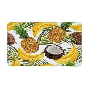 Palmier tropical feuilles bananes noix de coco ananas paillasson intérieur antidérapant tapis de porte d'entrée tapis paillasson tapis de cuisine