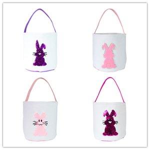 Младенец блестки Симпатичные пасхальные Bucket 3D Кролик хвост Printed Мода Лаки яйцо корзины Candy Bag Детские игрушки хранения сумка Сувениры WY443-2Q