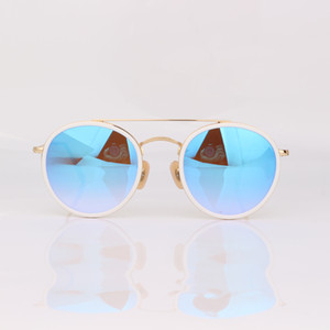 Hot sell Top quality Vintage designer Sunglasses round frame fashion women sunglasses blue mirror lens with original box