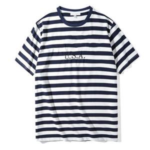 2020 camisas Hot Brand Jeans para hombre rayada EE.UU. T verano bordado de la manera diseñador camisetas de manga corta Tops Ropa