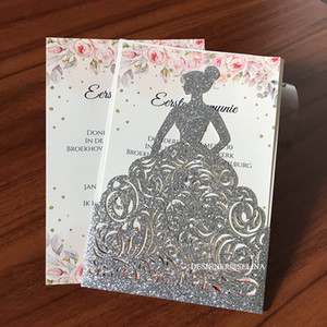Silver Glitter Laser Cut Wedding Invitations with Envelope 30 Color Customized Printing Princess Quinceanera Cards Dinner Invites