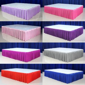 30cm high x 600 cm long ice silk wedding stage table skirt for table clothes decoration wedding table skirting for event party