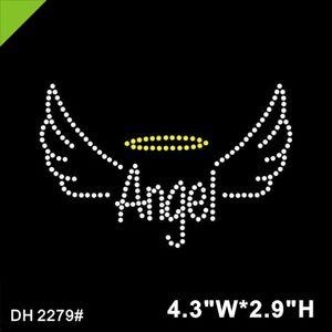 Free shipping quality angel wings iron on cheer rhinestone heat transfer hotfix crystal DIY DH2279#
