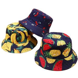여름 두 측면 가역 과일 파인애플 수박 레몬 체리 버켓 모자 남성 여성 귀여운 어부의 모자 파나마 밥 캐주얼