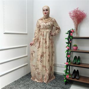 Kadınlar Mesh Hicap İslami Giyim Ramazan Eid Bayanlar Uzun Kollu Arap Elbiseler LR224 Pullu Müslüman giysi Abaya Dubai Kaftan