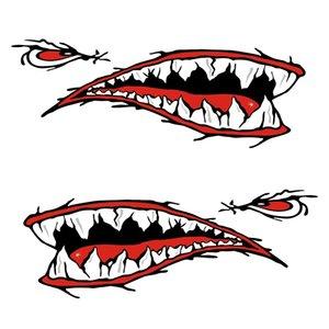 2 Pièces dents de requin bouche Decal Stickers Kayak Pirogue Bateau Dériveur