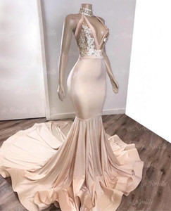 Vestidos de noite elegantes 2020 com sereia halter Dubai vestidos formais partido vestido de baile vestidos de noiva