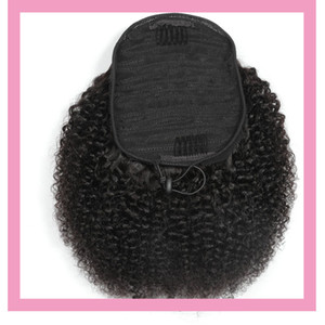 Virgem Cabelo brasileiro 100g / lot Ponytails Afro Kinky Curly 8-22inch Natural Color 100% Afro Cabelo Humano Kinky Curly Ponytail