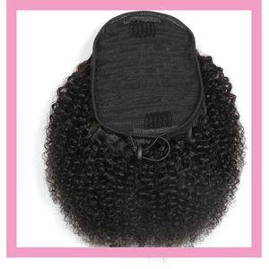 Brésilien Cheveux Vierge 100g / lot Ponytails Afro Kinky Curly Couleur naturelle 100% cheveux humains Afro Kinky Curly Ponytail