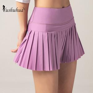 Yushuhua женщины фитнес спорт короткая юбка йога шорты для бега дышащий Спорт анти экспозиция Плиссированная юбка тренажерный зал спортивная одежда