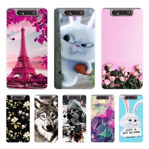 Para Samsung A80 processo de silicone pintado Telefone Voltar Coque macio TPU para Samsung Galaxy A80 A 80 A805 Casos SM-A805F A805F Capa