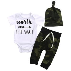Pagliaccetto neonato manica corta in cotone manica corta lettera neonato pagliaccetto tutina con pantaloni mimetici cappello 3 pezzi vestiti set nuovo