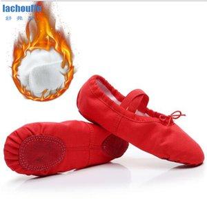 الشتاء المخملية الباليه الرقص أحذية الأسود الوردي الأحمر اليوغا ممارسة الرقص أحذية الرقص للأطفال لينة شقة راقصة الباليه الباليه الرقص أحذية