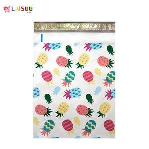 100 stücke 26x33 cm 10x13 zoll Ananas Weiß Muster Poly Mailers Selbstsiegel Kunststoff Umschlag Taschen / Jiffy mailing taschen