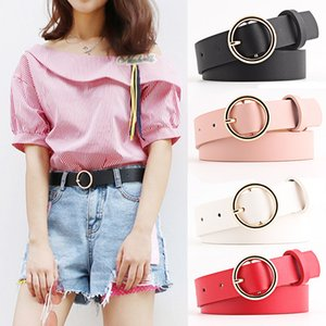 Fashion Casual Women PU leather Belt Round Pin Buckle Waist Strap Female Jeans Dress Youth Students Waistband
