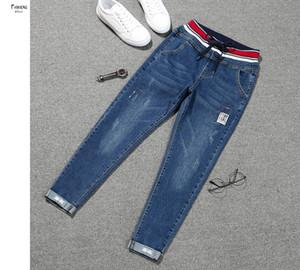 Stretch Jeans Femme Jeans Nouveau Plus Size Lace Up Women Regular Denim Elastic Nine Cropped Patch Cuff Pencil Jeans Women