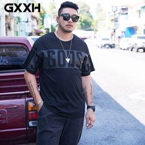 GXXH T Shirt Men Fashion Cotton Loose Casual Letter Printed Oversized Hip Hop Streetwear O-neck Black 7XL Big Size Tee Summer T200527