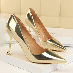 Горячая продажа-хорошее качество BIGTREE обувь женщина Европейский высокие каблуки мелкий рот бантом тонкий острый носок на высоком каблуке одной обуви