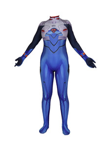 Zentai Japon Anime EVA Bleu Neon Genesis Evangelion Shinji Party cosplay costume super-héros Bodysuit Jumpsuit (Taille asiatique)