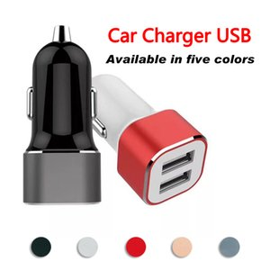 Small square mini car charger 5V2.4A dual USB metal car charger best-selling style car universal
