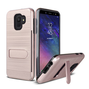 TPU + PC Hibrid Kickstand Etki Zırh Vaka Samsung Galaxy için J3 J7 2018 J337 J737 S9 Artı Not 8 Kart Yuvası Tutucu ile Kapak