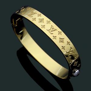 Chegada Nova monograma Jóias Amante New Arrival Tamanho 5.7X4.9CM Top Quality Gold / Silver / pulseira de Rose monograma do ouro Bangles preto banhado a ouro