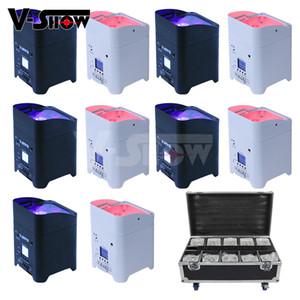 플라이트 배터리 무선 DMX 와이파이 원격 주도 웨딩 Uplighting 6x18w RGBWAUV 6IN1 LED Uplighting 파 주도 디제이와 프로 모션 10PCS