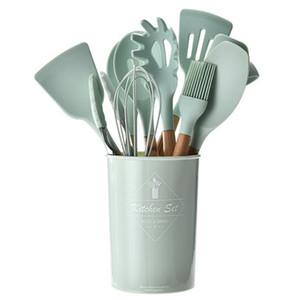 Silicone utensili da cucina Set con manico in legno antiaderente Cucchiaio della paletta Spatola Pinze Utensilios De Cocina Utensili da cucina utensili