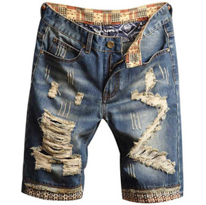 Jeans Pantalones cortos del remiendo de diseño rasgado masculino longitud de la rodilla pantalones lavados Distrressed Rayado bordado Straight Boys pantalones cortos de verano para hombre del agujero
