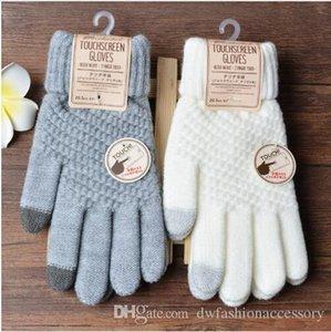 Solide Magic Touch Screen-Five Fingers Handschuhe Damen Herren Unisex warme Winter Stretch Strickfäustlinge Wolle Guantes Female Crochet Mitt Luvas