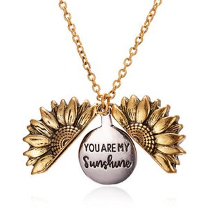 Open Locket Sunflower Pendant Necklace Double Layer Engraved You Are My Sunshine Letters Charm Women Long Chain Jewelry Valentine's Day Gift
