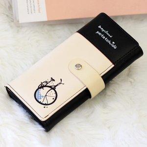 Donne morbido PU portafogli modello della bicicletta di pelle carte Wallet Hasp lungo signora Handbag Holder donna frizione borsa della moneta di Moneybags Burse
