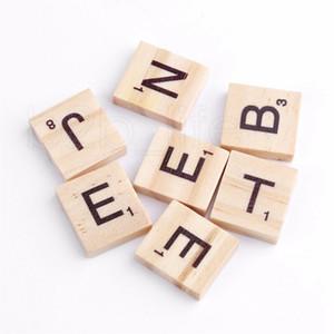100pcs / set Holz Alphabet Scrabblefliesen Schwarze Buchstaben Zahlen für das Handwerk Holz Puzzles für Kinder RRA2226