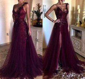 Burgund Split Abend Abendkleider 2019 Spitze Applique Pailletten Volle Länge V-Ausschnitt Plus Size Anlass Prom Kleider Vintage Mode Tragen