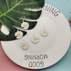 10pcs / pack encantos Daisy Sun Flower Dupla Face da gota de óleo Enamle metal prateado Brinco DIY Jóias Acessórios YZ755