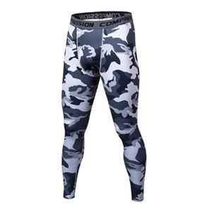Nouveau Pantalon noir Mens Compression Contraste d'impression Pantalon Camouflage Casual capris Collants Skinny Leggings Bodybuilding Homme Pantalons