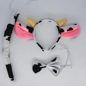 어린이 성인 우유 젖소 암소 동물 귀 머리띠 나비 넥타이 테일 코스프레 의상 소품 생일 파티 호의 카니발 할로윈 기타 이벤트