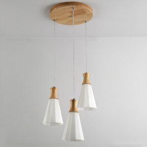 European  Japanese Glass Led Chandelier Lighting Modern Wood Hanging Light Fixtures E27 for Living Room Kitchen Dining Room Hall RW275