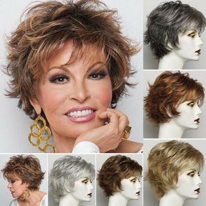 Женские короткие вьющиеся волнистые коричневые серые парики теплостойкие синтетические волосы полные парики